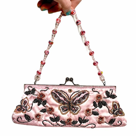 Pink y2k butterfly 🦋 bag beaded with bead strap